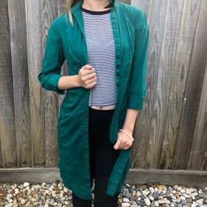 Express Forest Green Trench Coat Dress